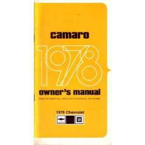 1978 CHEVROLET CAMARO Owners Manual User Guide