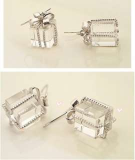 L4456 New Fashion Jewelry womens silver crystal box earring stud