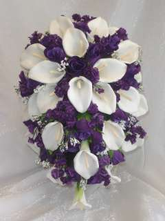 WHITE PURPLE Calla Lily BRIDAL Bouquet WEDDING FLOWERS