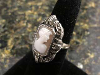 Vtg Antique Art Deco Sterling Marcasite Shell Cameo Ring