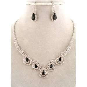 Fashion Jewelry ~ Jet Black Crystal Gem Accented with Clear Crystals