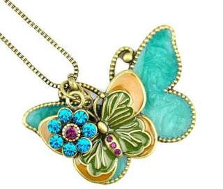 H4315 New Fashion Jewelry Womens Retro Butterfly Pendant Long