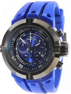 Mens Black Stainless Steel Force Quartz Chronograph Blue Strap Watch