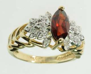 SOLID YELLOW GOLD DIAMOND GARNET COCKTAIL ESTATE RING J195145