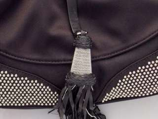 NWT Francesco Biasia Cori Black Satin Leather Handbag