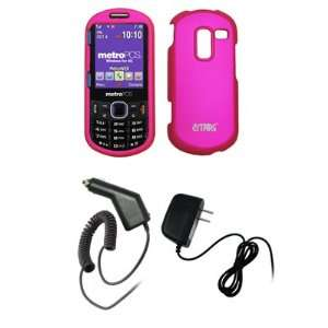 EMPIRE Hot Pink Rubberized Snap On Cover Case + Car Charger (CLA