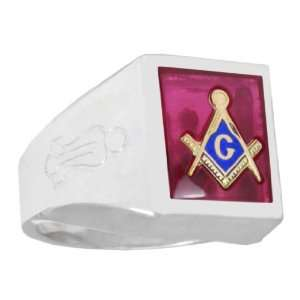 Mens Sterling Silver Masonic Freemason Mason Ring Onyx