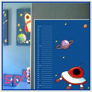 Child Growth Height Chart Outer Space rocket ufo Kids