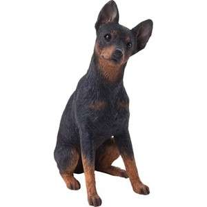 ADORABLE BLACK MIN PIN MINIATURE PINSCHER DOG STATUE MID SIZE FIGURINE