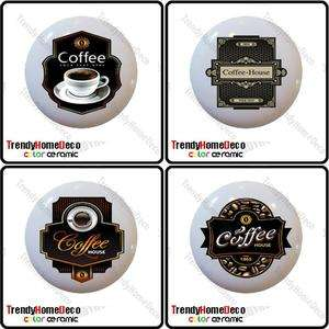 Set of 4 Coffee Theme Bean Ceramic Knobs Pull Kitchen Drawer Cabinet