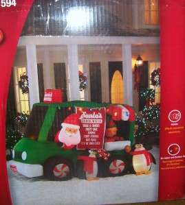 Airblown Inflatable Animated Santas Snack Wagon Outdoor Lighted