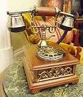 ANTIQUE VINTAGE VICTORIAN ART DECO ORNATE BRASS WOOD PHONE TELEPHONE