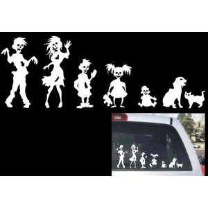 Funny Stick Figure Family ZOMBIES Decal