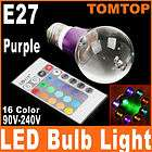 E27 3W 16 Color RGB Crystal Flash LED Purple Light Bulb with Remote