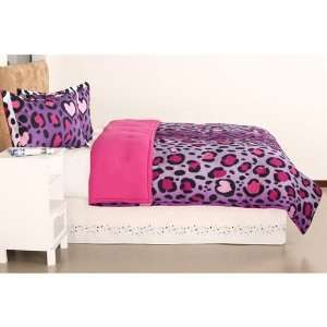 Purple Black Heart Love Leopard Cheetah Print Full Queen Comforter Set