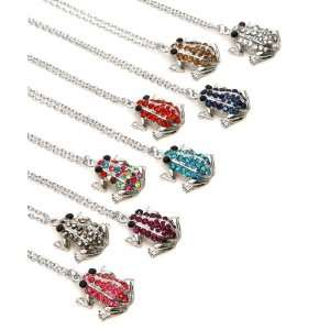 Zircon Blue Crystal Stones Frog Pendant with Cable Chain