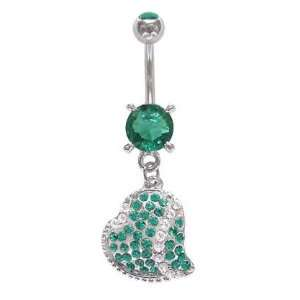 Blue Zircon Greenish aqua Many Gem Paved Heart dangle Belly navel Ring