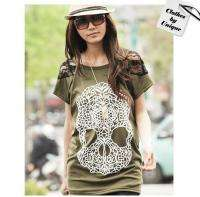 Japan Korea Women Skull Lace Sleeve Blouses Tops Shirts