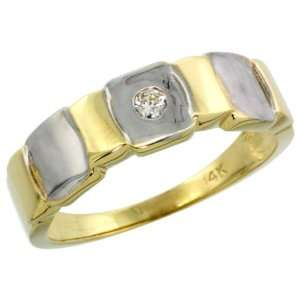14k Gold Mens Diamond Ring w/ 0.06 Carat Brilliant Cut ( H I Color