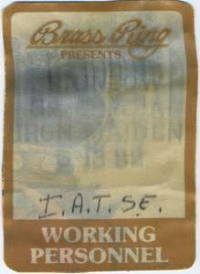 backstage pass for the RAINBOW, IRON MAIDEN and .38 SPECIAL 1982 Tour