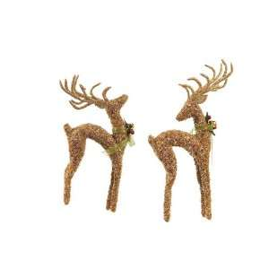 Pack of 8 Christmas Traditions Elegant Gold Glass Beaded Reindeer