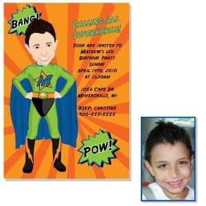3044 G Superhero Boy Birthday Party Invitations Green