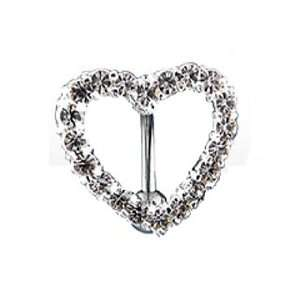 Top Drop Belly Ring with Clear Gem Paved Heart   14G   3/8 Bar Length