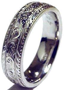 PALLADIUM HAND ENGRAVED WEDDING BAND RING MEN BRAND NEW