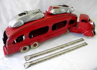 MARX RARE 1940 STUDEBAKER AUTO TRANSPORT COMPLETE WITH CARS   RAMPS
