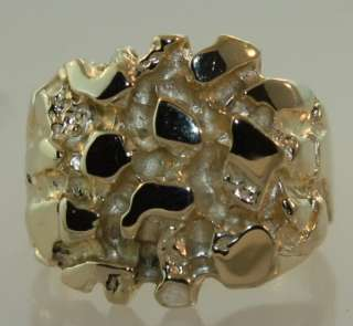 14k yellow gold gents nugget ring vintage estate 9.4g