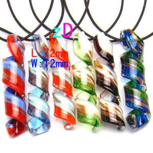 Lapmwork Murano Glass Spiral Pendant Necklace Jewelry Vogue