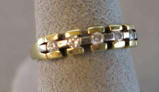 18k yellow & white gold diamond band   4.7 grams  .30 cts tw (#C212
