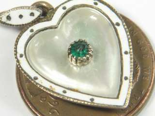 ENGLISH 9K GOLD EMERALD PEARL ENAMEL HEART SHAPED CHARM PENDANT c1890