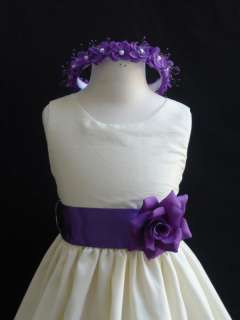 New IVORY PURPLE Christmas wedding flower girl dress