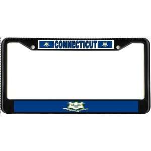 Connecticut CT State Flag Black License Plate Frame Metal