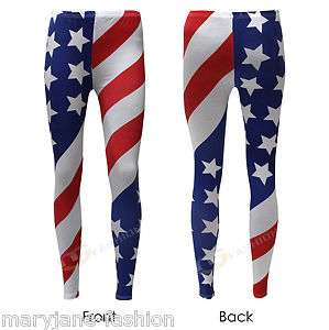 WOMENS LADIES STARS AND STRIPES USA AMERICAN FLAG LEGGINGS 8 10 12 14