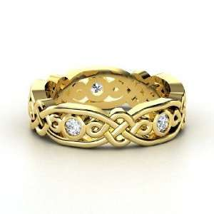 Brilliant Alhambra Band, 18K Yellow Gold Ring with Diamond