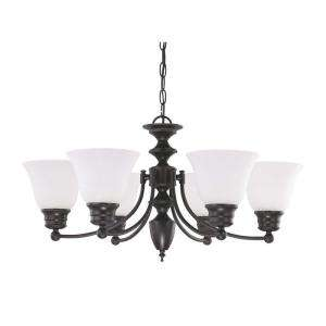 Glomar Empire 6 Light Hanging Mahogany Bronze Chandelier HD 3359 at
