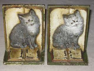 ANTIQUE BRADLEY HUBBARD CAST IRON VICTORIAN CAT ART KITTEN BOOK STATUE