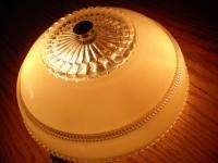 Vtg 40s Art Deco Ceiling light Fixture & shade candlewick Kitchen