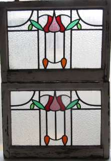 Pair of Antique Stained Glass Windows Five color Art Nouveau Ruby and