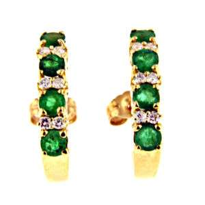 25 CT YELLOW GOLD EMERALD & DIAMOND EARRINGS 14 KT