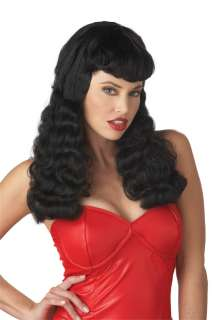 Bettie Page Costume Wig   Black for Halloween   Pure Costumes