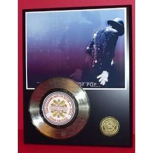 MICHAEL JACKSON LASER ETCHED WITH SONG LYRICS GOLD RECORD
