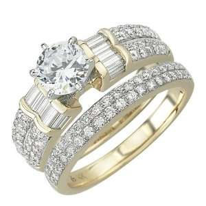 Yellow Gold Diamond Bridal Set Ring Jewelry