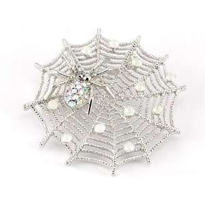 Fall Spider Lily Spinning Web Crawling Crystal Rhinestone Brooch Pin