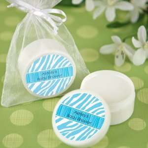 Blue Baby Zebra   Personalized Lip Balm Baby Shower Favors Baby