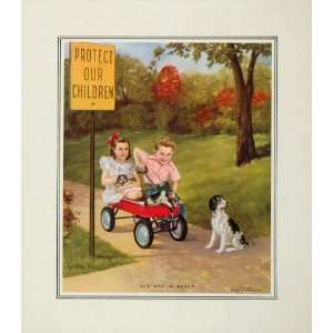 1953 Young Children Red Wagon Dog Puppies Color Print