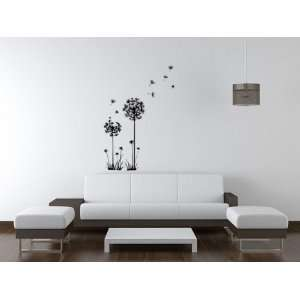 Flying Black Dandelion  Loft 520 Home Decor Vinyl Mural Art Wall Paper