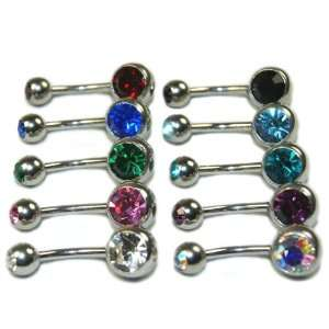 Lot of 10 Double Gem Real Cubic Zirconia CZ Crystal Belly Navel Rings